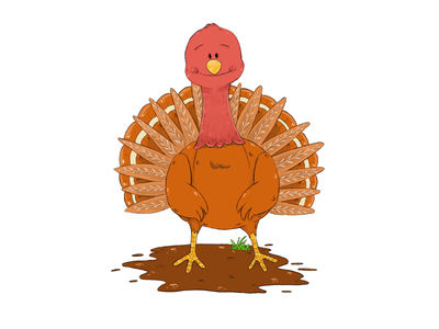 Happy Turkey childrens book cartoon thanksgiving turkey character design illustration