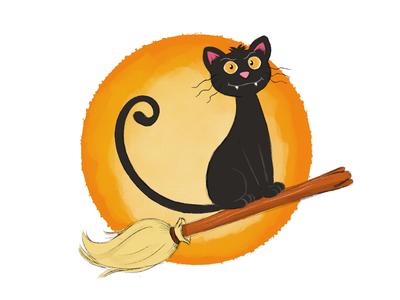 Black Cat on a Broom character design illustration cartoon broom cat black