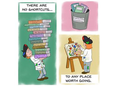 No shortcuts comic art character design illustration cartoon