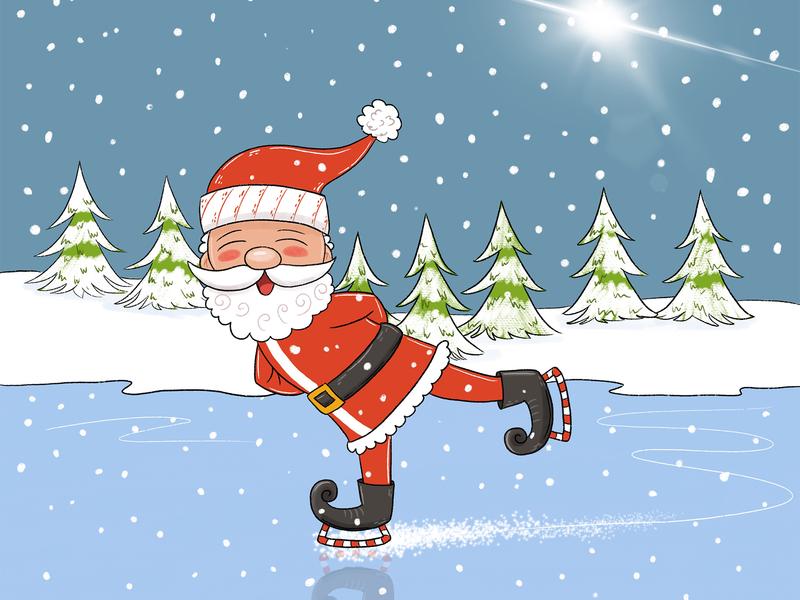 Santa Skating ice ice skating cartoon character childrensbooks character design cartoon skating christmas santa