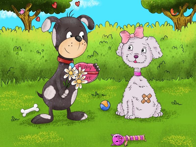 Puppy Love digitalart tripod illustration illustrator childrens illustration childrens book puppy