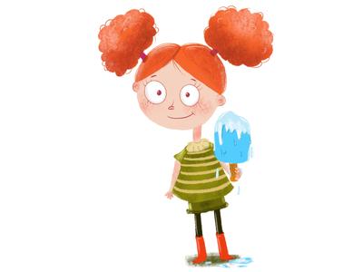 Popsicle melting red hair popsicle girl
