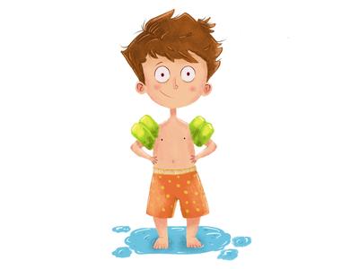 Swimming floating green boy pool swimming