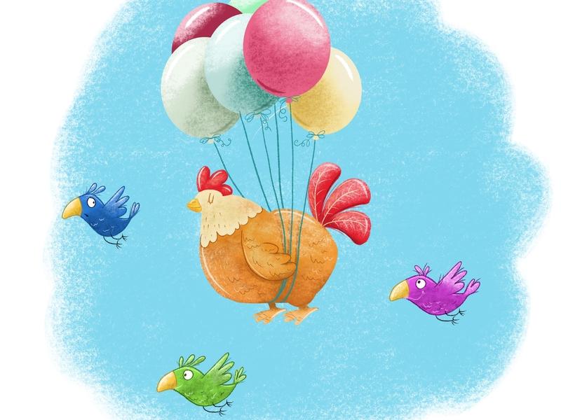 Never Give Up childrensboook picturebook kidsbooks cartoon flying fly balloon bird chicken