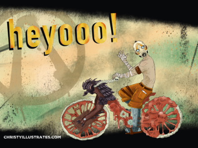 Steve says heyooo! borderlands illustration steve character bicycle