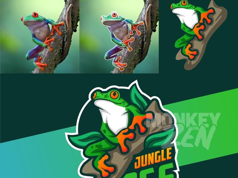 frog mascot logo designs playful cartoon sport twitch vector gamer frogs colorful jungle frog fun esport charachter logo mascot
