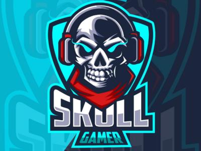 Skull gamer e-sport logo design