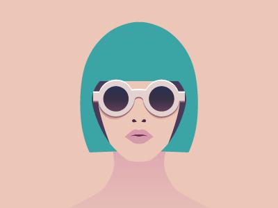 Persona vector illustration round glasses persona girl mod fashion flat