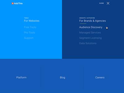 Menu Overlay  ia navigation website drop-down concept overlay menu addthis