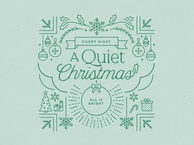 A Quiet Christmas snowflake tree gift ornaments holly series art series christmas lineart lines illustration typography