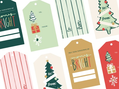 Christmas Tags elements drawn hand gift holiday christmas tags