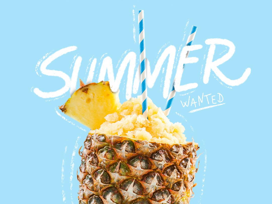 Summer Wanted vector typography design icon illustration