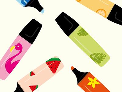 Stabilo Summer Pattern flat icon flat designs branding vector packaging illustration illustrator flat design design