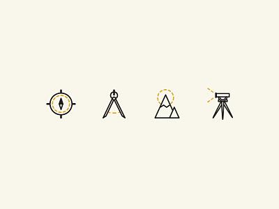 Land Surveying Icons land survey compass surveying icons map mountain sun tool scope telescope pictogram