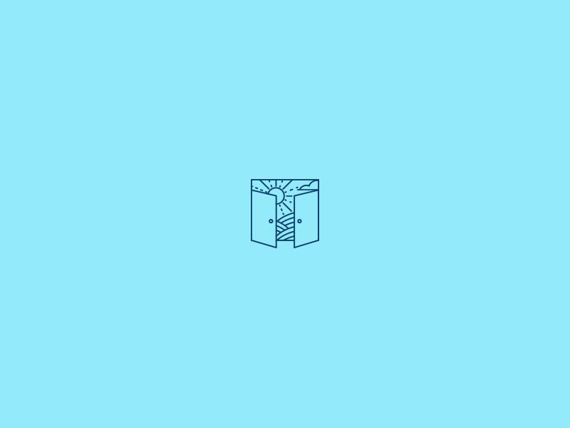 No Wrong Doors letter t outline illustration door landscape line logo