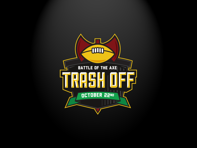 Trash Off Logo v1 tras icon illustration ribbon axe event charity recycle emblem football sports logo