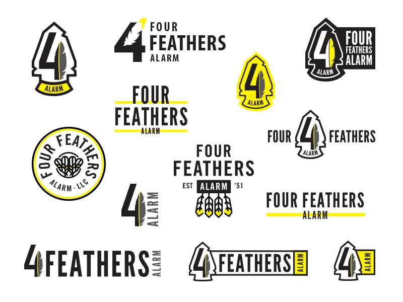 Four Feathers Logo Concepts security alarm feather modern branding emblem 4 arrowhead illustration lockup typography logo