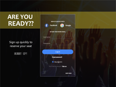 Sign Up screen for App