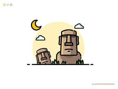 Easter island illustration 图标 ux 设计 ui