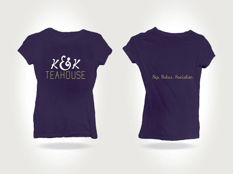 K&K's Teahouse T-shirt t-shirt identity logo hand lettering type ampersand tea branding lettering logotype clean redesign
