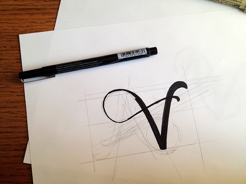 Personal Mark Process pen process brush ink sketch lettering logo design black mark personal