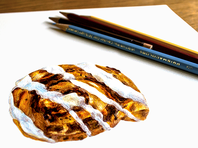 Cinnamon Bun 'a' drawn drawing colorful typeface type pencil process lettering 3d sweet creative font
