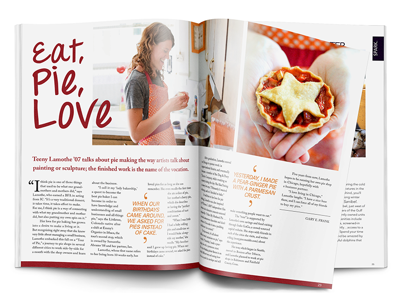 Eat, Pie, Love Spread paper grid print layout food clean editorial magazine type typography red photography