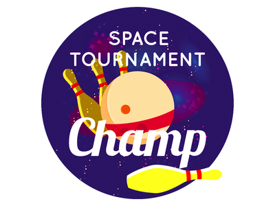 Space Tournament Champ star vintage nintendo grid illustration design game retro vector bowling space sticker