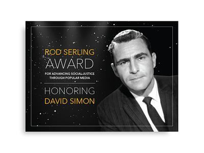 Rod Serling Award invitation retro vintage invite identity gold film event creative branding black black and white