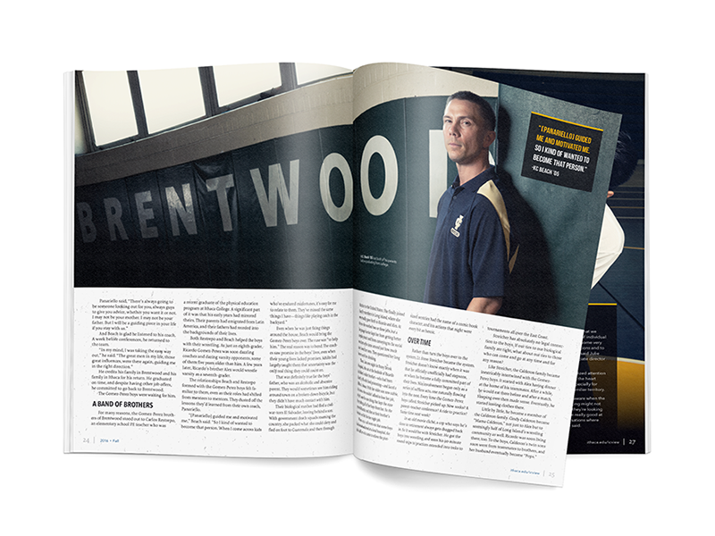 Brentwood centerfold type spread publication print magazine lettering layout graphic feature design creative center