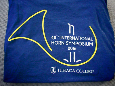 Quick logo for the 2016 International Horn Symposium international event new york college school gold blue french waterfall music logotype logo