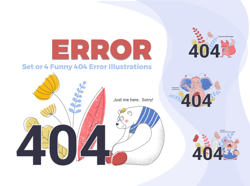 Error 404 Cute Illustrations mouse fox elephant bear cute animals 404 error page 404 404 page error 404 funny illustration vector illustration concept vector colorful flat illustration business adobe illustrator