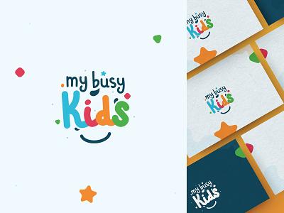 My Busy Kids / Logo Design child draw logotype design logodesign vector illustration illustrator ill branding graphic design logo design busy cubes busy board children logo children kids logo kids logo