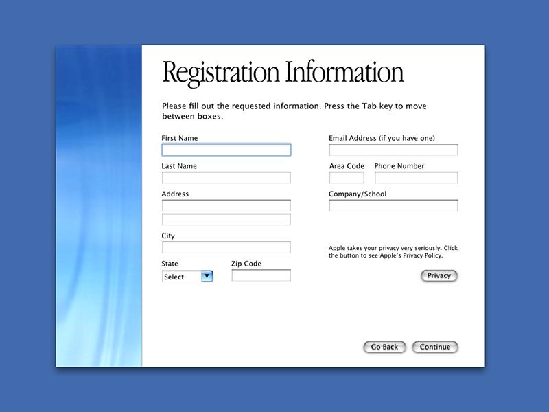 Mac OS X Registration Screen form aqua registration system mac apple mac os x