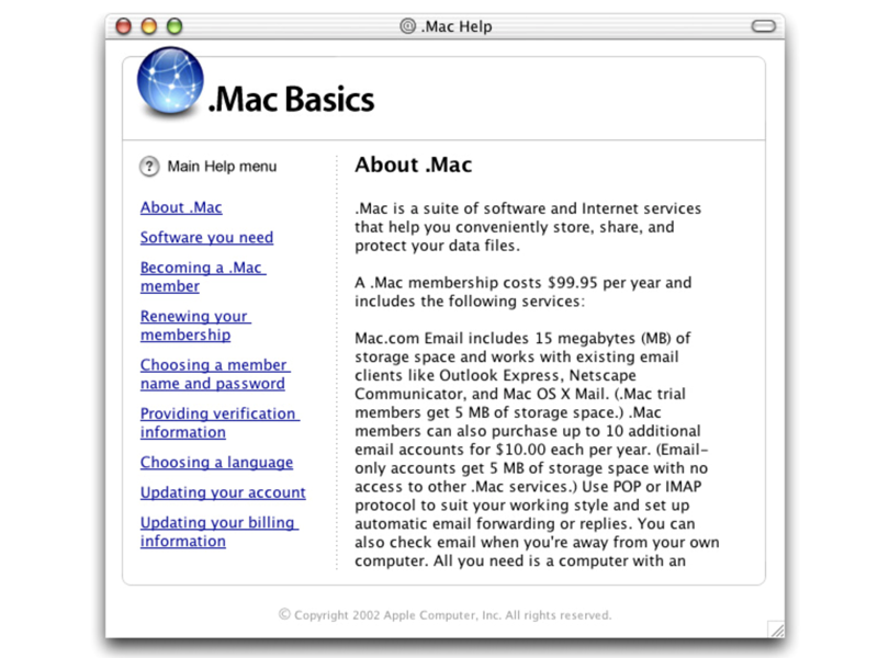 Help System for Apple .Mac (Instructional Design) design system webaqua .mac basics dotmac .mac instructions instructional design help design systems help design help