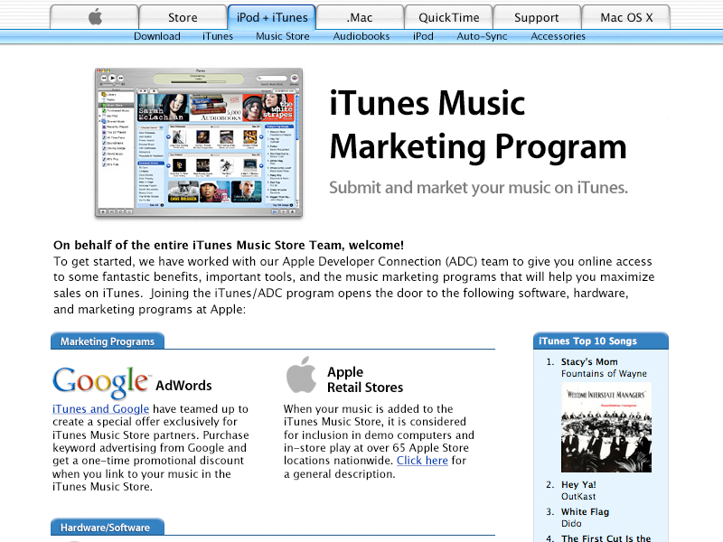 iTunes Affiliate Marketing Program (circa 2003) metalaqua webmetal apple.com apple web badges encoder itunes store itunes affiliate marketing