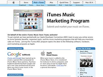 iTunes Affiliate Marketing Program (circa 2003) metalaqua webmetal apple.com apple web badges encoder itunes store itunes affiliate marketing
