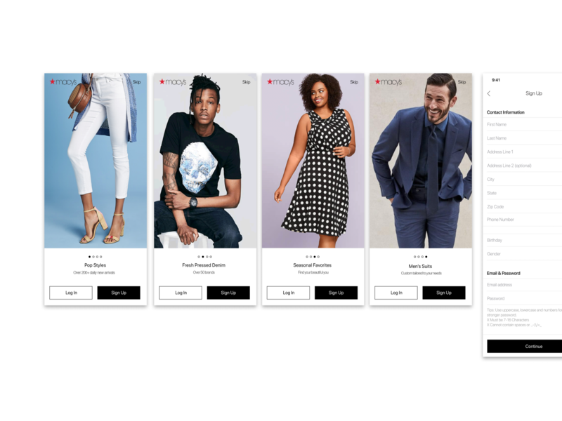 Login, Signup and Onboarding for Macy's mobile app