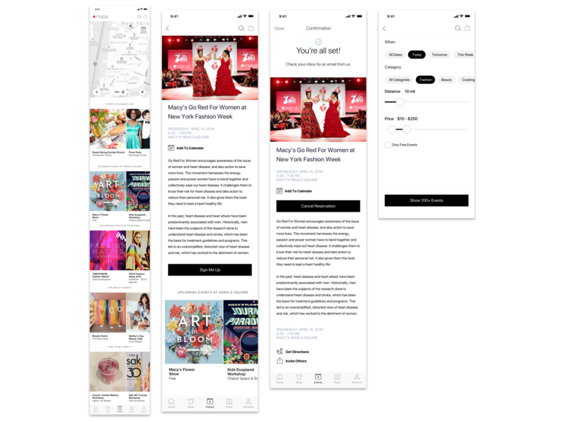 Eventing Macy's retail design retail events app event app events event