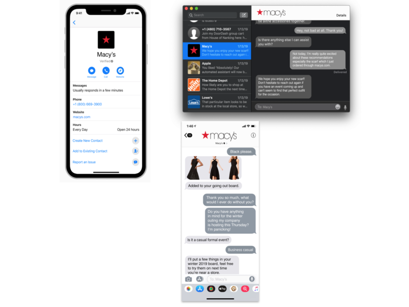Apple Business Chat for Macy's conversational ui conversational chat macys
