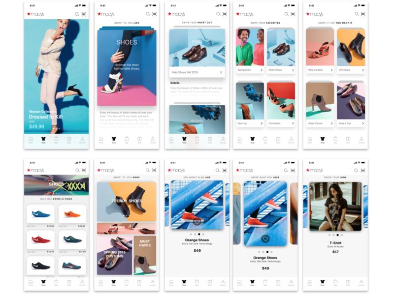 Macy's App Browsing Study app  design app gesture swipe browse