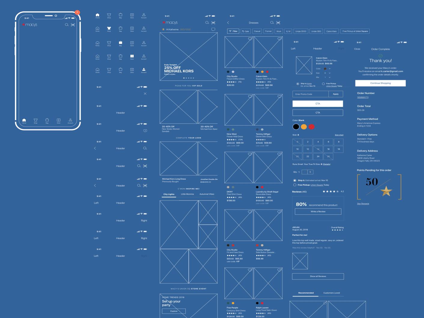 Macy's | Bloomingdales Reference Design UI Kit (iOS) ios design kit wireframe kit wireframe design system ui kit