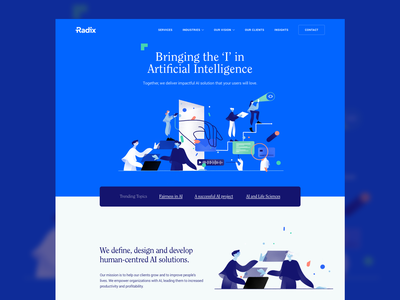 AI Landing Page radix startup landing page website service artificial intelligence artificial agency illustration hero landing homepage