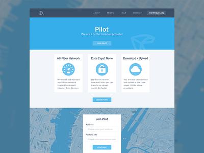 Pilot - WIP landing page fiber internet nyc homepage blue