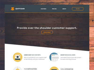 Customer Support Site homepage customer support cta landing page icon orange features