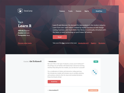Datacamp - Track Page education track page material design polygon hero online tutorial