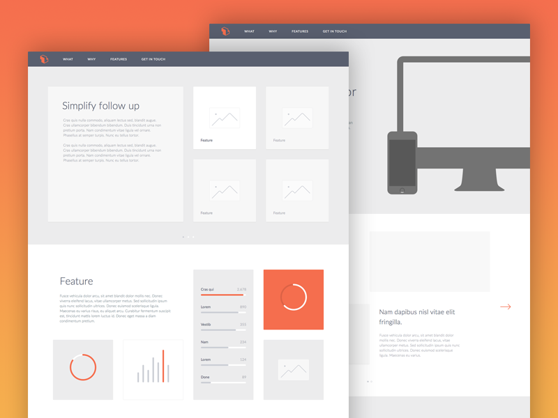 Wireframes - Salesflare saas wireframes product website high fidelity