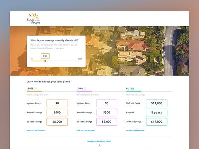Solar - Comparison Page feature comparison pricing saas landing page conversion calculator website sales component