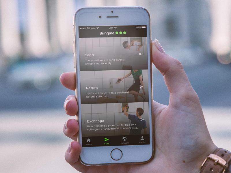 Bringme - Send menu ios design product manipulation photo app bringme