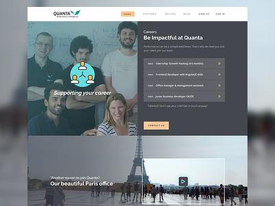 Quanta - Careers jobs page careers illustrations video theme dark quanta design web